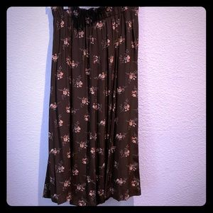 Midi floral skirt chocolate and pink